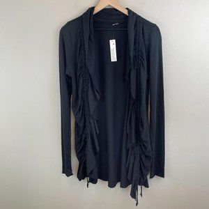 LA Made black cinched tie ruched open cardigan M